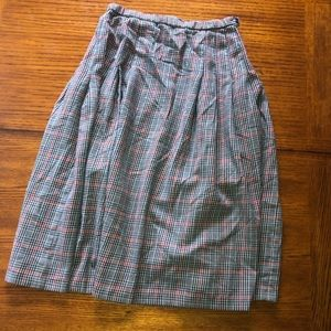 Vintage PENDLETON plaid wool skirt beige, blue&red